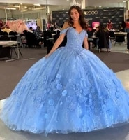 sky blue cheap quinceanera dresses ball gown off the shoulder tulle appliques beaded puffy sweet 16 dresses