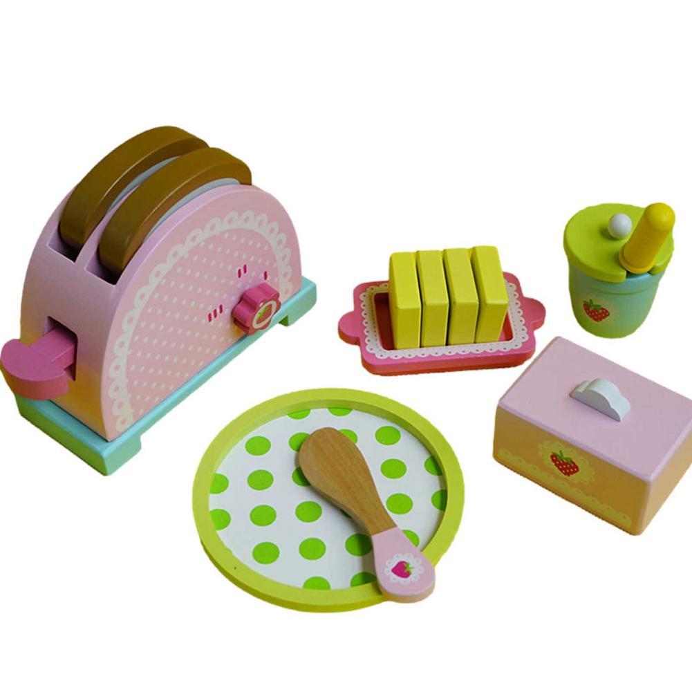 Комплект для выпечки хлебопечки, детская имитация тостеров, деревянные наборы для ролевых игр, кухонная игрушка, имитация пекарни