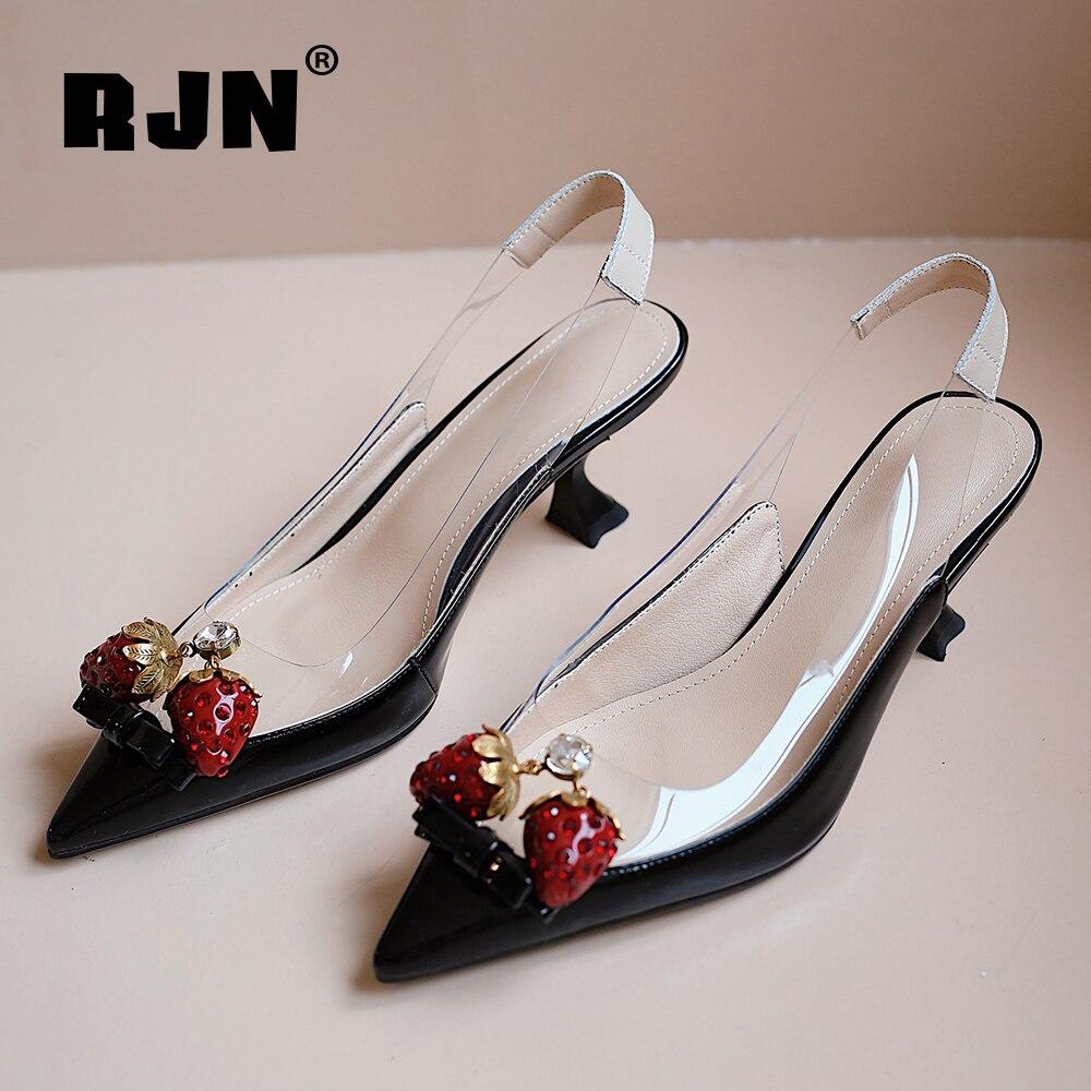 RJN-حذاء نسائي بكعب عالٍ مع مقدمة مدببة ، حذاء نسائي بكعب عالٍ 5 سنتيمتر ، زخرفة فراولة ، عصري ، للحفلات ، RO114