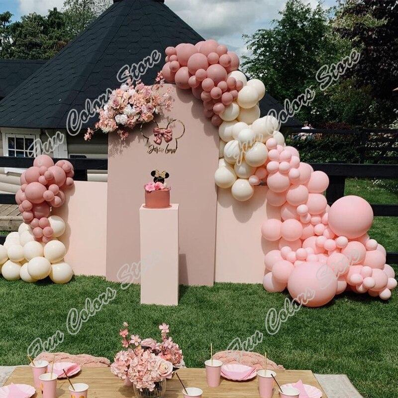 162pcs Retro Pink Memorial Day Party Backdrop Baby Shower Macaron Pink Gender Reveal  Celebration Happy Birthday Balloon Garland