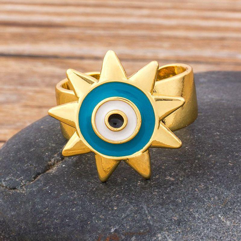 Mode Breiten Blauen Bösen blick Gold Engagement Einstellbar Ringe für Frauen Party Geschenk Schmuck Antike Klassische Ring Großhandel