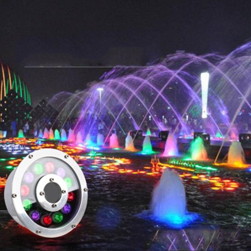 Nueva Luz Led subacuática RGB 6w 9w 12W 18w IP68 impermeable colorida Luz de fuente de luz de piscina
