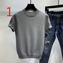 Summer mens knitted ice silk T-shirt half-sleeved tide brand lapel top new short-sleeved T-shirt