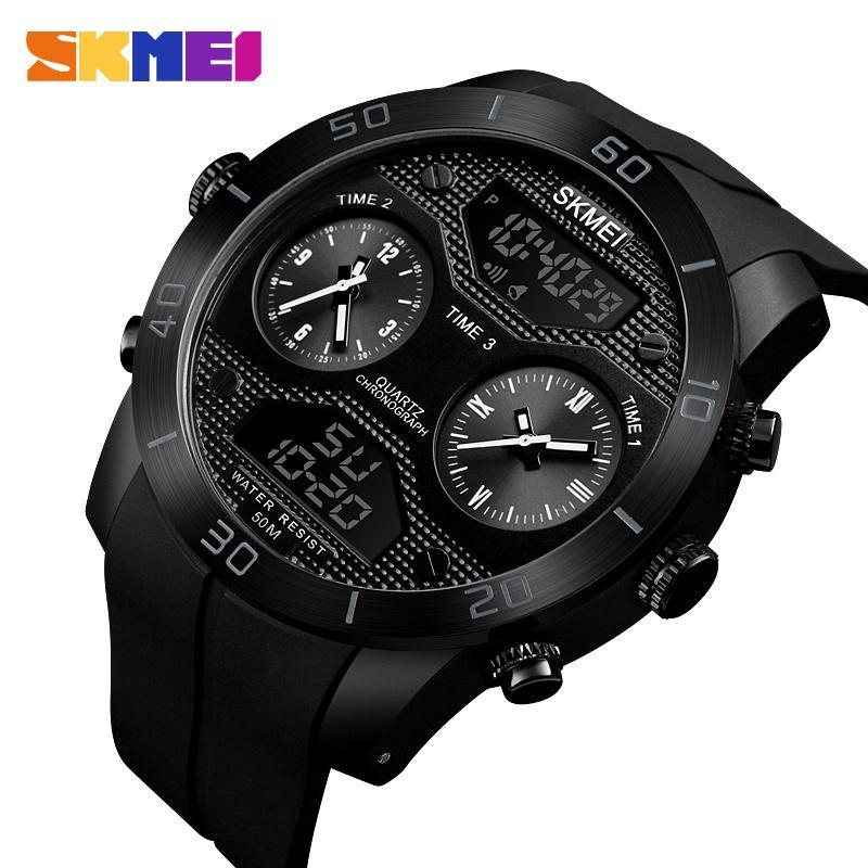 SKMEI-ساعة رجالية مضيئة ، سوار رياضي ، شاشة مزدوجة ، مقاومة للماء ، 5 بار ، جودة عالية ، 1355