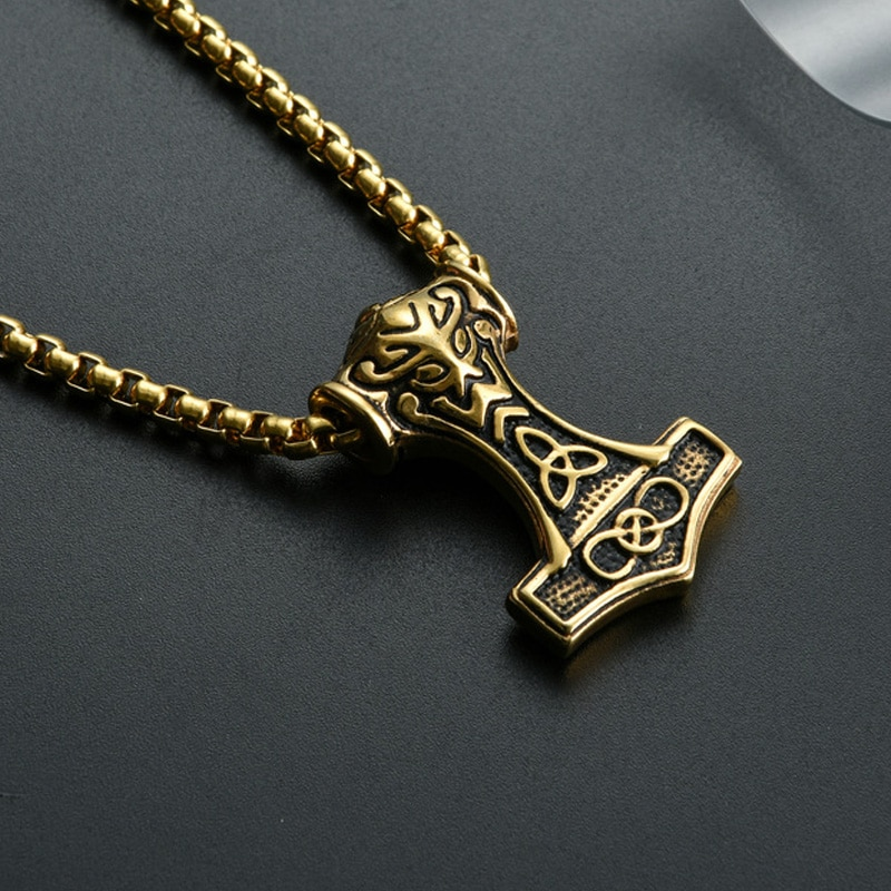 Viking Thor Hammer Pendant Necklace Gold/Silver Color Stainless Steel Necklace Viking Amulet Jewelry Never Fade