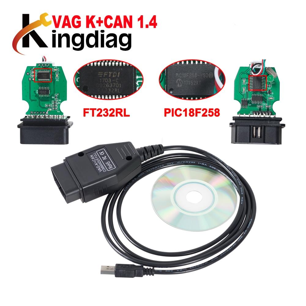 VAG COM VAG K + puede comandante 1,4 analizador ECU con PIC18F258 + FT232RL Chip cable de diagnóstico escáner Coche
