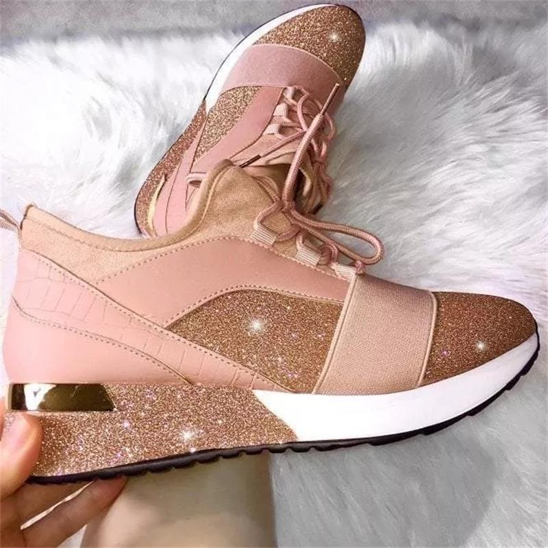 Women's Shoes Fashion Trend Casual Solid Color PU Stitching Shiny Frosted Classic Lace-up Comfortable All-season Sneakers 6KF154