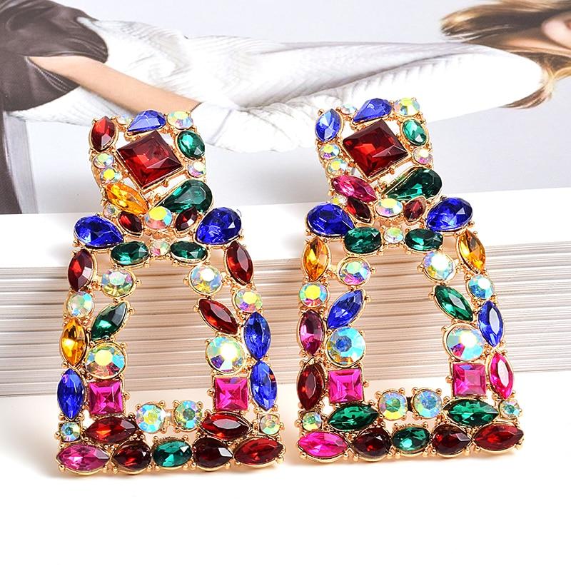 Atacado za novo metal longo oco-para fora pendurado cristais coloridos balançar brincos de gota acessórios de jóias finas para mulher