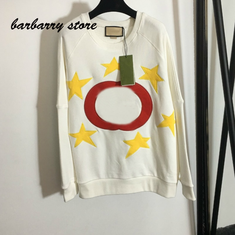 2021 luxury brand five pointed star embroidery letter printing fashion women's versatile round neck loose long sleeve Pullover