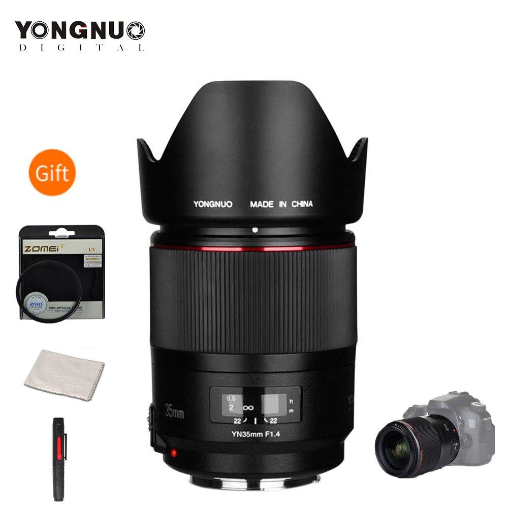 YONGNUO YN35mm F1.4 lente gran angular Prime lente de marco completo para cámaras Canon DSLR 70D 80D 5D3 MARK II 5D2 5D4 600D 7D2 6D 5D II