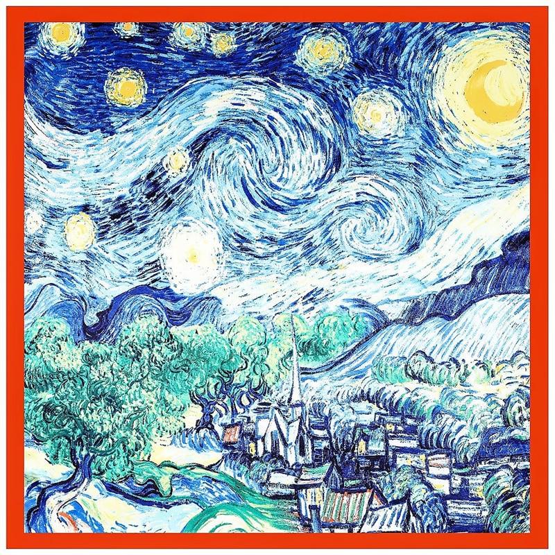 90CM Large Square Scarf Silk Scarf New Van Gogh Oil Painting Starry Sky Luxury Brand Handkerchief Headscarf Ladies Travel Shawl