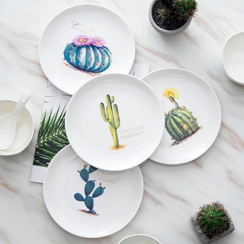 4 piezas de 8 pulgadas Cactus redondo fresco Casa de vajilla de porcelana de platos de carne desayuno occidental nórdicos placas cubiertos conjuntos