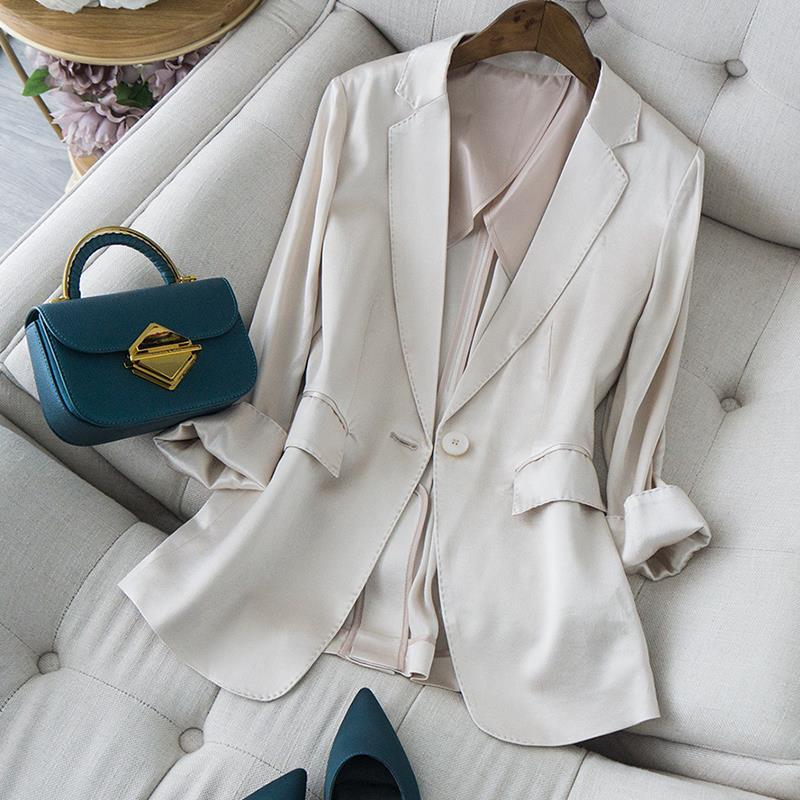 PEONFLY-معطف بليزر نسائي عتيق بجيوب كورية ، ملابس خارجية غير رسمية بأكمام طويلة مسننة ، مجموعة 2020