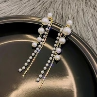 in 2021 the new fashion long tassels pearl earrings ms luxury punk jewelry earring party gift accessories