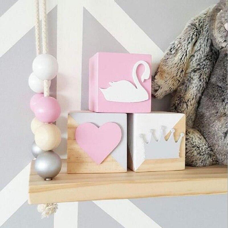 Деревянная Корона, лебедь, блочные украшения, «сделай сам», единорог, печать, рукоделие для свадьбы, Детская развивающая игрушка, новорожден...