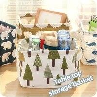 desktop storage basket cute printing waterproof organizer cotton linen sundries storage box cabinet underwear storage bag