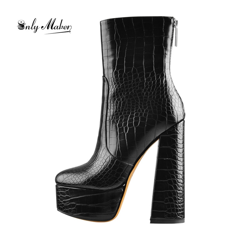 Onlymaker المرأة الكاحل 16 سنتيمتر حذاء بكعب سميك عالية منصة Bootie جولة تو حجر نمط الخصر قصيرة سميكة الأحذية لفصل الشتاء