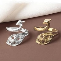 punk gothic silver color peacock finger ring for women 1pcs fish snake charms rings jewelry gifts vintage adjustable open ring
