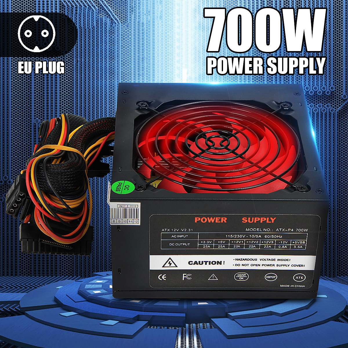 700W PCI SATA ATX 12V الألعاب PC امدادات الطاقة 24Pin/موليكس/Sata 12 سنتيمتر مروحة جديد الكمبيوتر امدادات الطاقة ل BTC
