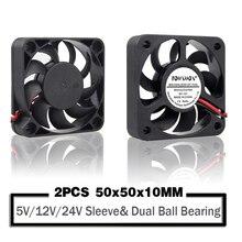 2 sztuk 50mm 50x50x10mm wentylator 5010 5V 12V 24V wentylator chłodzący 2PIN 3Pin USB 5cm PC Laptop przemysłowe radiator z wentylatorem fanów