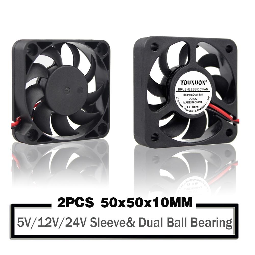2PCS 50mm 50x50x10mm Fan 5010  5V 12V  24V Cooling Fan 2PIN 3Pin USB  5cm PC Laptop Computer Industrial Cooler Fan Heatsink Fans