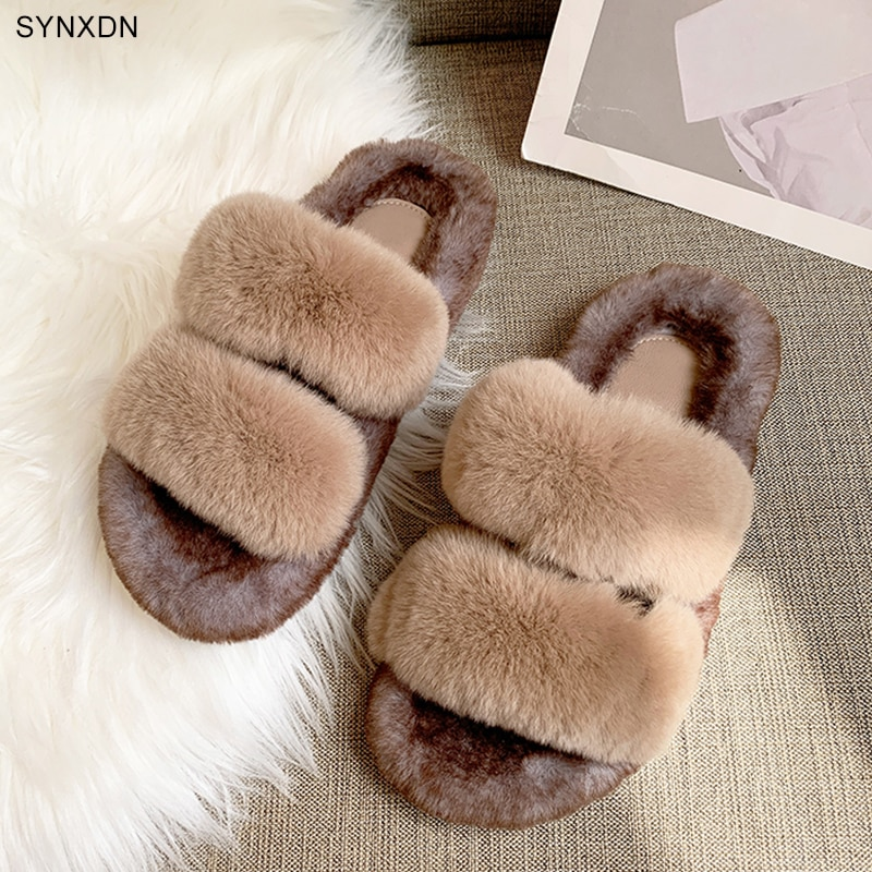 Real Fur Flat Home Shoes Women Slippers Comfortable Open Toe Brown Female Slippers Non-slip Lady 's