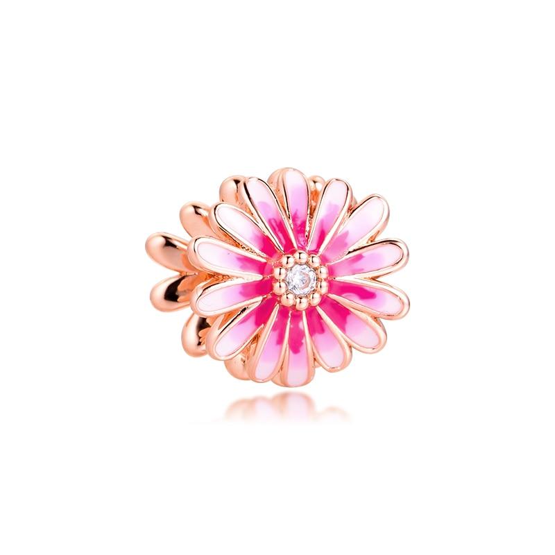 ¡Novedad de 2020! Abalorio floral rosa con cuentas para joyería de niña, joyería de plata de ley 925 DIY