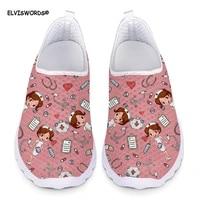 elviswords womens sneakers flats cartoon pink cute nurse prints air mesh spring summer nursing ladies shoes woman loafers light