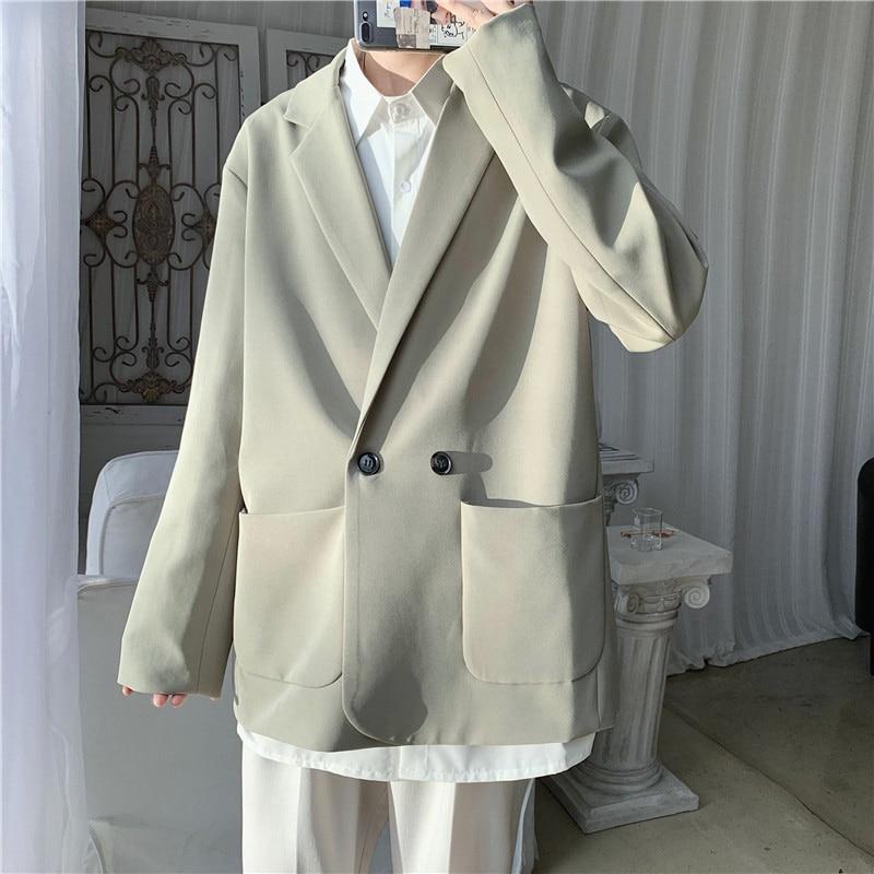 Blazer informal holgado de manga larga para hombre, chaqueta masculina sencilla de...