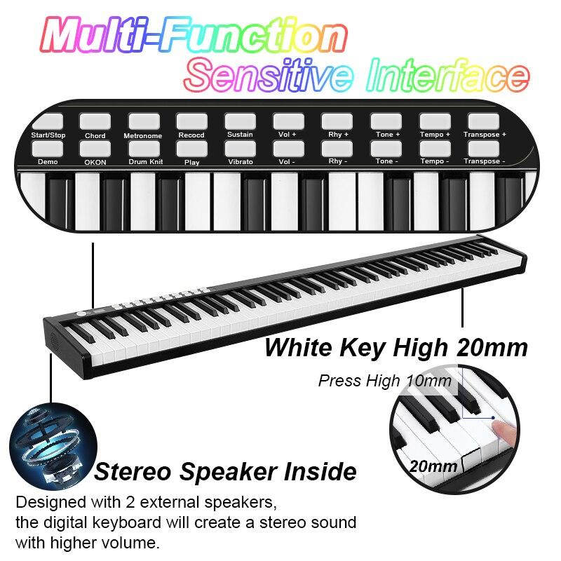 88 Key Piano Portable Digital Electronic Controller Piano Keyboard Touch Sensitive MIDI/USB Electric Piano enlarge