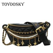 TOYOOSKY mode perle chaîne Fanny Pack femmes taille sac en cuir PU épaule ceinture sac femme poitrine Bum sac banane Pack sac
