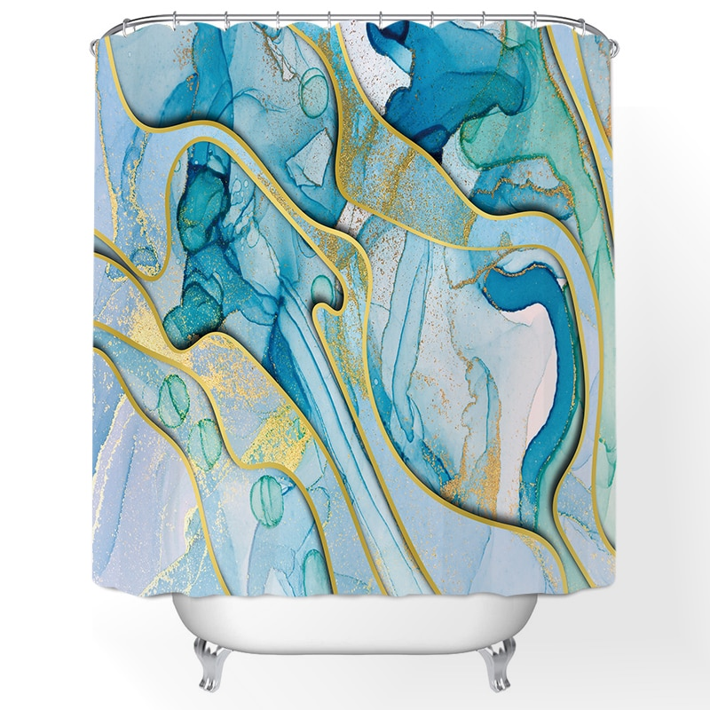 Beautiful Bathroom Printed Shower Curtains Frabic Waterproof Polyester Bath Curtain with Hooks Curta