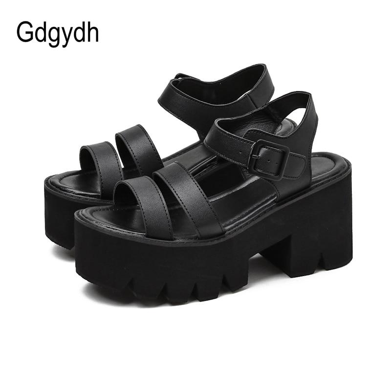 Gdgydh Black Platform Women Sandals Summer 2020 Female Shoes Woman Block Heel Fashion Buckle Causal Sandals Cheap High Quality
