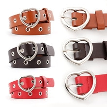 fashion Female PU Leather Bels Metal Pin Buckle Heart-shaped retro belt dress decorative ladies luxu