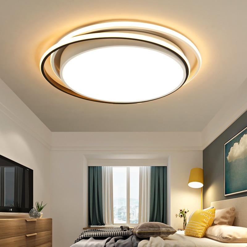Lámpara de techo moderna minimalista ultradelgada redonda para dormitorio, sala de estar lustrosas lámparas para, Clara cocina tierra luz Led luz de techo