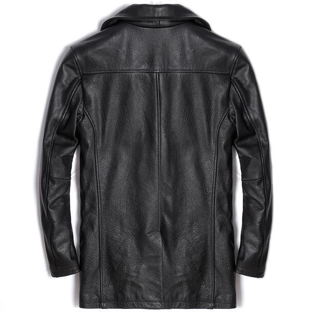 حقيقي سترة الرجال مزدوجة الصدر معطف طويل الشتاء الحقيقي 100% جلد الغنم الطبيعي الأسود ماركة عادية الذكور peطوق