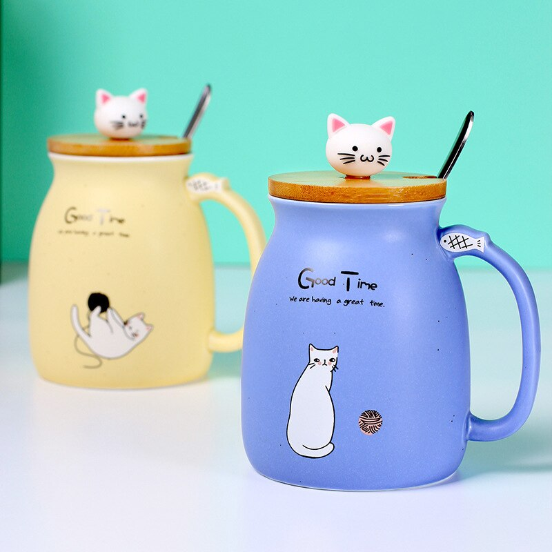 Taza de gato de dibujos animados resistente al calor con tapa cuchara taza gatito café cerámica Oficina tazas lindo bebedor niños regalo decoración del hogar