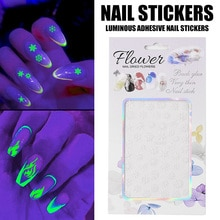 1pcs Halloween Christmas Party Luminous Adhesive Nail Stickers Shinning Glitter Manicure Tool DIY De