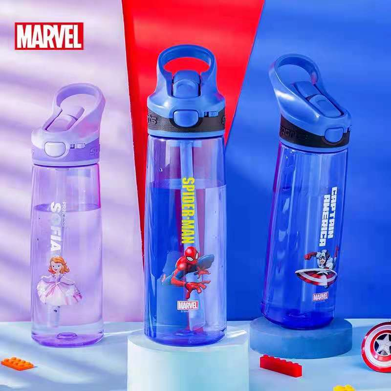 Disney Marvel Tritan PP Water Cup For Child Straw Plastic Cup Straight Drink Cup Students Mickey Baby Water Bottle For Kids