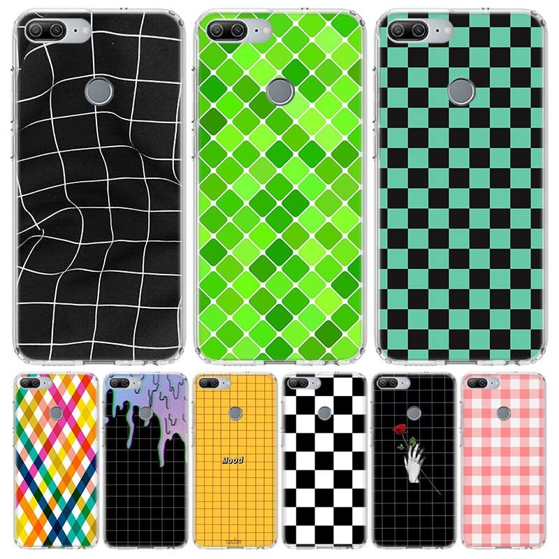 Tabuleiro de xadrez preto e branco Caixa Do Telefone para Huawei Honra 10 9 20 7A 7X 8A 8S 8X 9X Lite Pro Y5 Y6 Y7 Y9S 2019 10i 20i Coque Capa