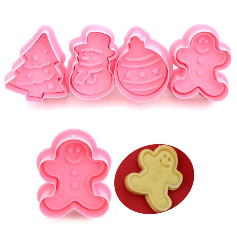 Juego de 4 unidades de moldes para galletas, cortador de émbolo 3D para galletas, molde para hornear DIY para casa de jengibre, cortadores para galletas de Navidad, cocina