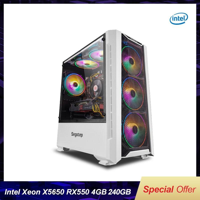 Gaming Computer Case With Intel Xeon X5650 6-Cores Twelve Threads LGA 1366/RX550/RX560 4G/8G/16G RAM 240G SSD For LOL/CSGO DIY