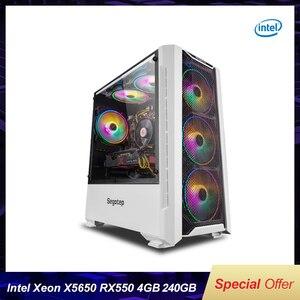 Чехол для игрового компьютера с Intel Xeon X5650 6-ядерный двенадцать потоков LGA 1366/RX550/RX560 4G/8G/16G RAM 240G SSD для LOL/CSGO DIY