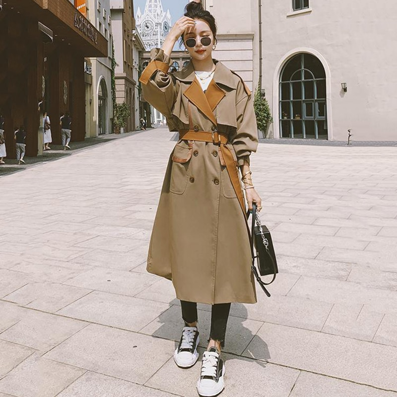 Женская ветровка на весну и осень, куртка с контрастной прострочкой верблюжьего цвета, Длинный свободный тренчкот, женский ветрозащитный д...