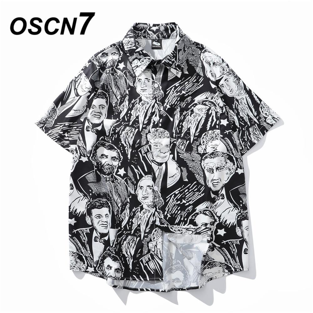 OSCN7 Casual Printed Short Sleeve Shirt Men Street 2020 Hawaii Beach Oversize Women Fashion Harujuku Shirts for Men 1066