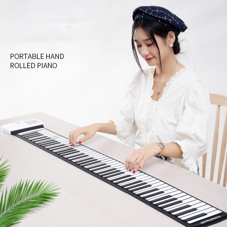 Teclado de Piano Electrónico plegable para adultos, Piano Electrónico Profesional portátil grueso para niños, DF50DZQ
