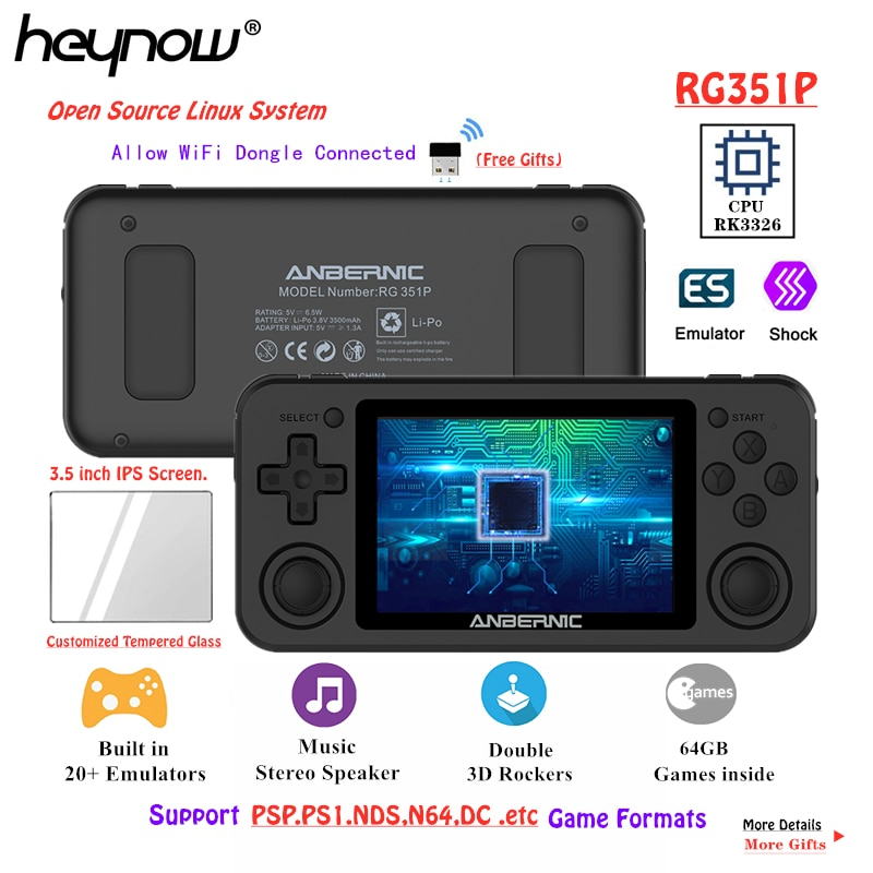 HEYNOW RK3326 RG351P Retro Game Console WiFi 64G Emuelec Linux System 3.5inch IPS Screen PS1 N64 Pocket Game Player RG350P RG351