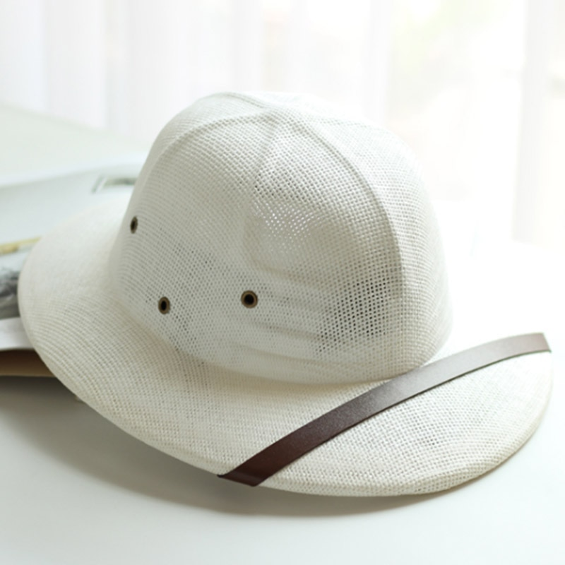 Gorra de sol unisex de paja de Inglaterra, sombrero británico de verano para hombre, gorra de baratman, gorra de Safari, jungla miner
