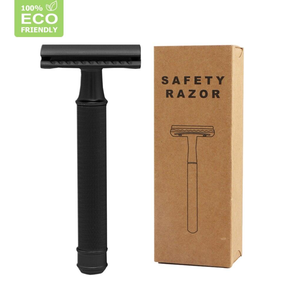 Edieu Black Razor Metal Double Edge Safety Razor For Men Reusable Manual Shaving Razor With 20 Blades Plastic Free&Zero Waste