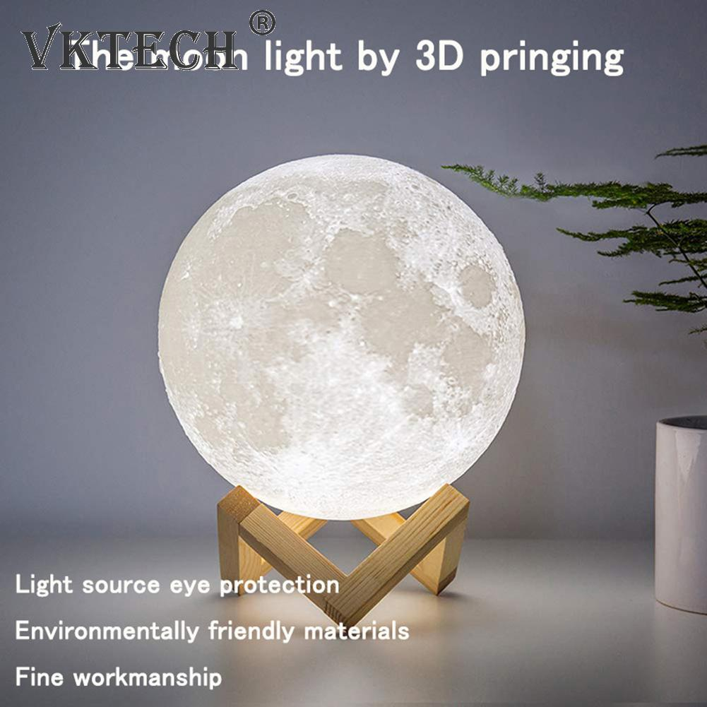 Modern 3D Moon Lamp LED Creative USB Charging Night Light Dimmable Touch Bedside Table Desk Lamp fo